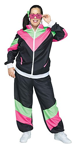 Fun World Women's 2X/ Wmn's 80s Sweat Suit Plsz, Mulricolor, XX-Large