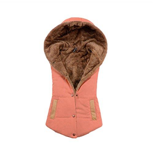 NiSeng Womens Girls Buttoned Padded Gilets Winter Warm Hooded Bodywarmer Sleeveless Vests Jacket for Ladies Orange