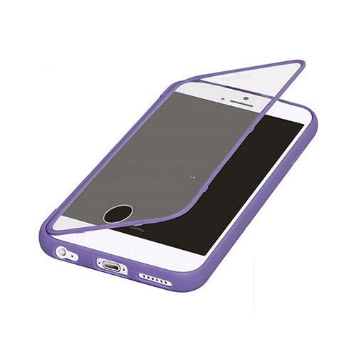 E8Q prueba de choques rugoso de goma de colores ventana transparente híbrido tirón de la caja protectora para iPhone 6S Plus Púrpura
