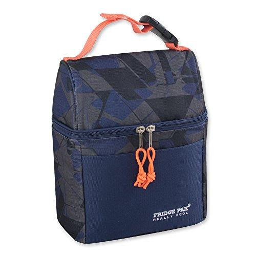 Boy Lunch - Insulated Lunch Bag With Wide Opening Zipper For Men Boy and Women Girls Kids (Blue Print)
