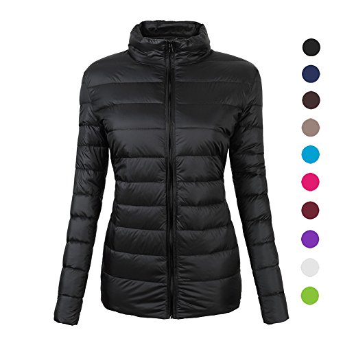 CIOR Women's Ultra-Lightweight Stand Collar Packable Down Puffer Jacket Coat with Travel Bag,YR02,Black,S