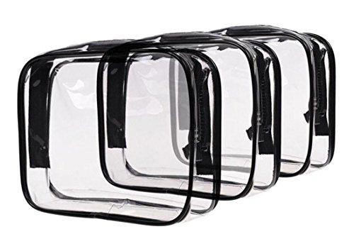 WODISON de tres piezas de PVC claro bolso cosmético bolsa de maquillaje para las mujeres (Negro-Medio) Negro-Medio