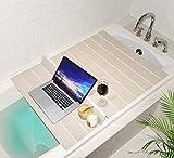 Mia home Folding Bathtub Tray, Good for Keeping Water Hot, Foldable Bath Tub Caddy Tray, Ivory (30x43 inch)