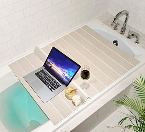 Mia home Folding Bathtub Tray, Good for Keeping Water Hot, Foldable Bath Tub Caddy Tray, Ivory (30x43 inch) by Mia home