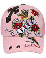 Luck Printed Mesh Back Hat Cap - Pink