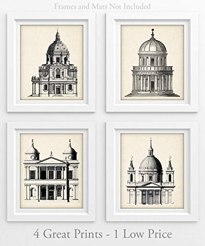 Architectural Dome Illustrations - Set of Four Prints (8x10) Unframed - Great for Living Room Decor or Gift Under $20 to Architects and Engineers