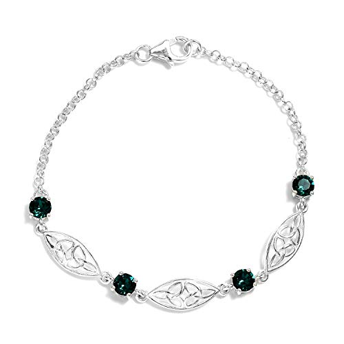 925 Sterling Silver Round Made with SWAROVSKI Emerald Bracelet for Women 7.25