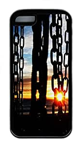 for iphone 4/4s Case Chains in the sunset TPU for iphone 4/4s Case Cover Black
