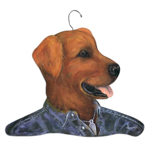 Stupell Home Dcor Golden Retriever Wearing Jean Shirt Hanger, 17 x 0.4 x 11, Proudly Made in USA