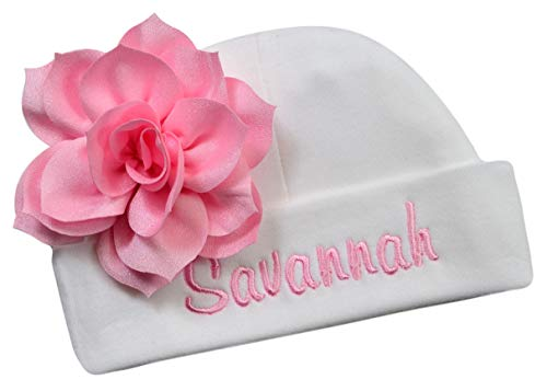 (Personalized Embroidered Baby Girl Hat with Lotus Flower Your Custom Name (White Hat/Light Pink)