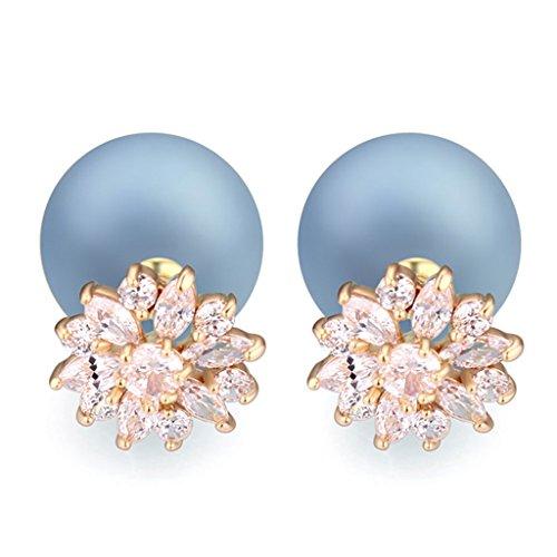 arring AAA Zirconic Stud Earrings (14k White Gold Venetian Glass)