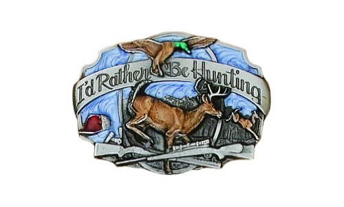 I'd Rather Be Hunting Belt Buckle with Wildlife Detail