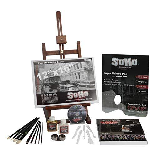 Soho Urban Artist Oil Paint Set - Professional Artist Easel, Oil Paint, Paint Mediums, Paint Brushes, Palette Knives, Paper Palette - Complete Oil Painting Set