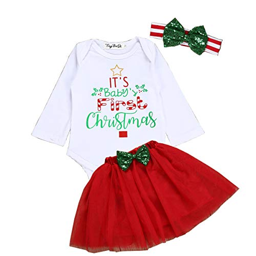 Newborn Baby Girls Clothes Sets My First Christmas Long Sleeve Tops+ Red Skirt Suit (Red, 0-6 Months)