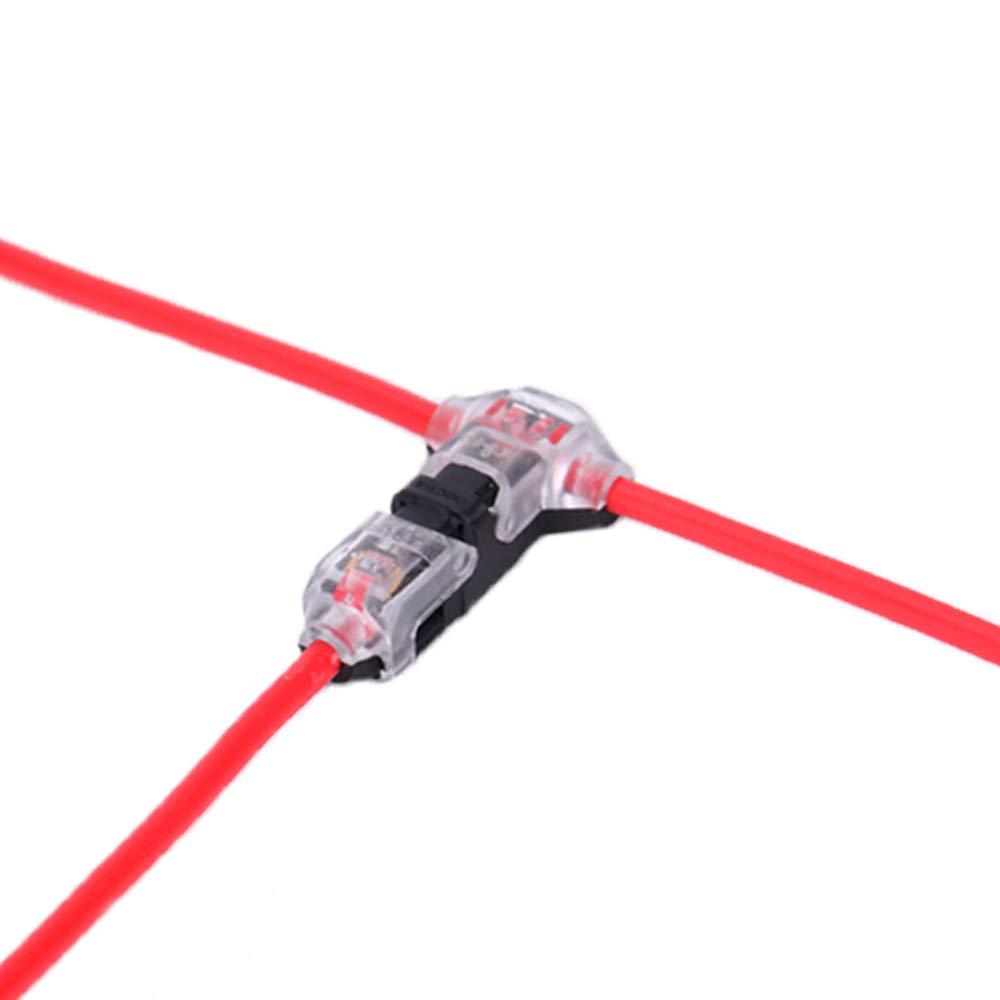 de Brightfour paquete de 12 conectores de baja tensi/ón T de 1 v/ía 1 pin sin soldadura Conectores de cable sin necesidad de pelar cables para la conexi/ón de cables Cable 20//22 AWG 0,2-0,5mm/²