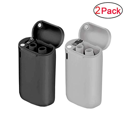 Collapsible Reusable Straws Stainless Steel Drinking Straws Premium Food-Grade Foldable Silicone Straw 2 Pack Black/Gray