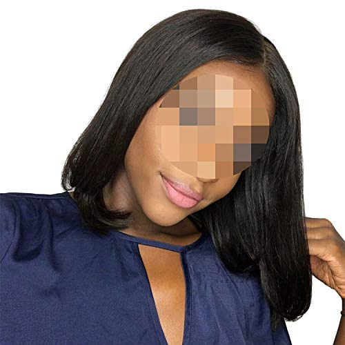 Short Lace Front Human Hair Wigs Bob Wig for Black Women Full and Thick Virgin Hair,16inches,France,4X4 Closure Wig]()