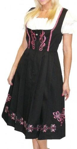 Dirndl Trachten Haus 3-Piece Long German Wear Party Oktoberfest Waitress Dress 8 38 Black And Pink