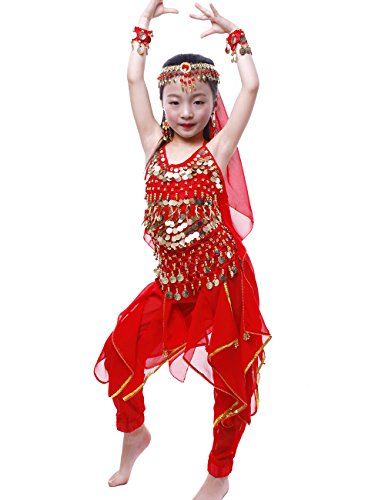 (Astage Girls Oriental Belly Dance Sets Costumes All accessories Red S(Fits 3-5)
