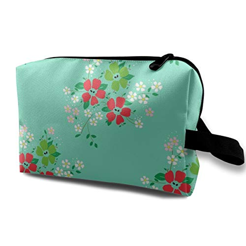 Apple-blossoms-mint-green_1955 Travel Makeup Bags Cute Makeup Case Large Nylon New Rose Gold ()