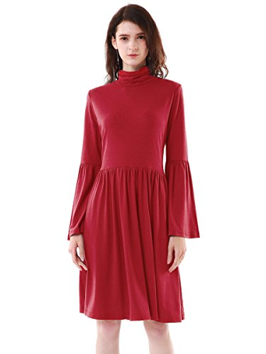 Flare Turtleneck (MiYang Long Sleeve Turtleneck Loose Tunic Top Casual Swing High Waist Dress for Women with Bell Sleeves Red Small)