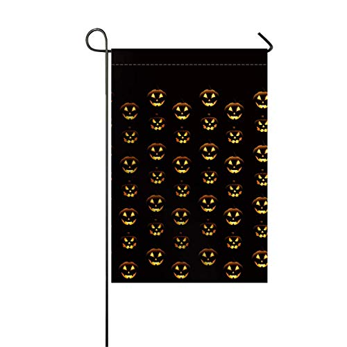 zhurunshangmaoGYS Garden Flag House Banner Decorative Flag Home Outdoor Valentine, Halloween Pumpkins Pattern Different Face Expressions Happy Angry Scary Puzzled Yard Flag 12 x 18inch