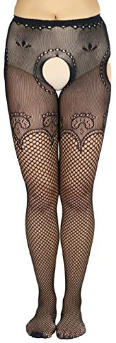 - ToBeInStyle Women's Sultry Industrial Net Suspender Hose - Black - OS