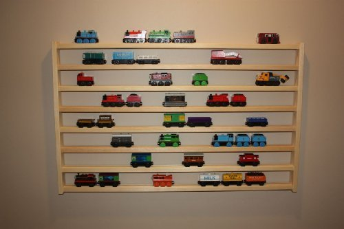 (Train Rack Mega - Thomas Train Wooden Storage Display Wall Rack Shelf Play Table Accessory Case for Brio Chuggington Melissa and Doug)