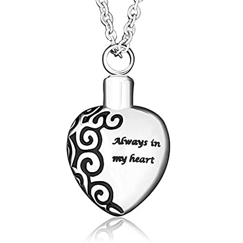 DemiJewelry Sterling Silver Always In My Heart Urn Pendant Necklace Cremation Ashes Keepsake Memorial