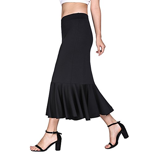 Fancyqube Women's Sexy Slim Fit Elastic Waist Fish Tail Mermaid Flared Long Skirt Black (Long Fish)