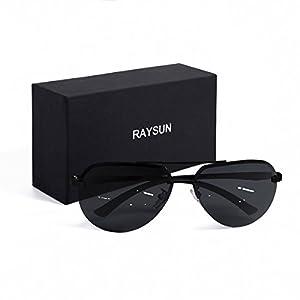 Aviator Sunglasses RAYSUN Aluminum Semi Rimless Polarized Vintage Sun Glasses for Men Women UV 400