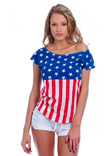 VbrandeD Women's Drop Shoulder Tee American Flag Inspired Medium Red/White - Flag Top Shirt