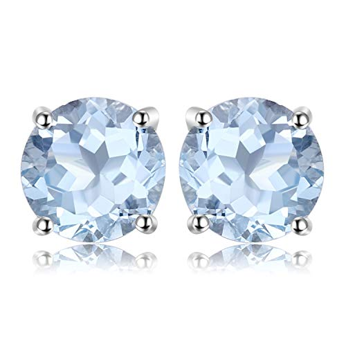 - JewelryPalace Birthstone Gemstones 2ct Natural Sky Blue Topaz Stud Earrings For Women 925 Sterling Silver Stud Earrings For Girls Round Cut