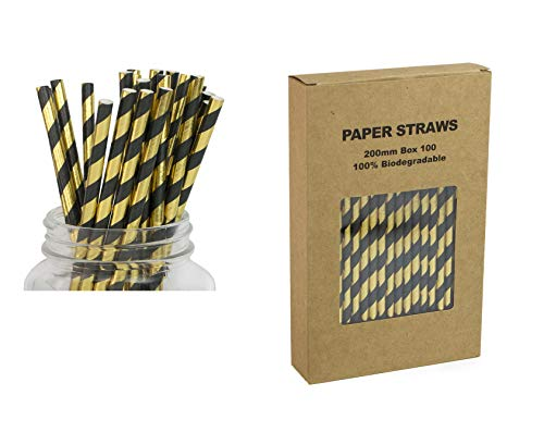Black and Gold Paper Straws, Pack of 100, Biodegradable Striped Drinking Straws, Cake Pop Sticks for Party Decor