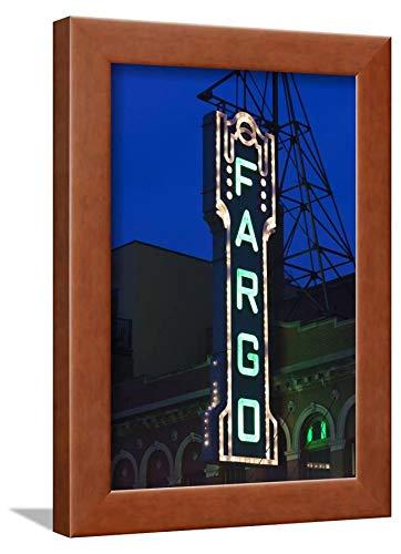 ArtEdge Theater Sign, Fargo, North Dakota, USA by Walter Bibikow, Wall Art Framed Print, 12x8, Brown ()