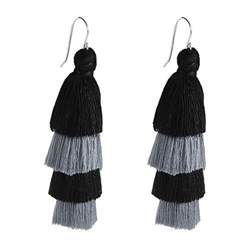 (Bonnie Four Layered Earring Tassel Sterling Silver Hook Bohemia Ethnic Tiered Thread Earrings (Black Grey))