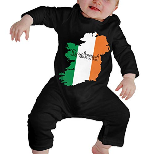 U99oi-9 Long Sleeve Cotton Bodysuit for Baby Girls Boys, Soft Ireland Flag Map-1 Crawler Black -