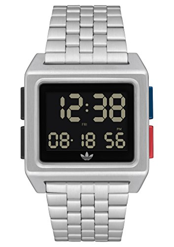 adidas Watches Archive_M1. Men's 70's Style Stainless Steel Digital Watch with 5 Link Bracelet (Silver/Black/Blue/Red. 36 mm).