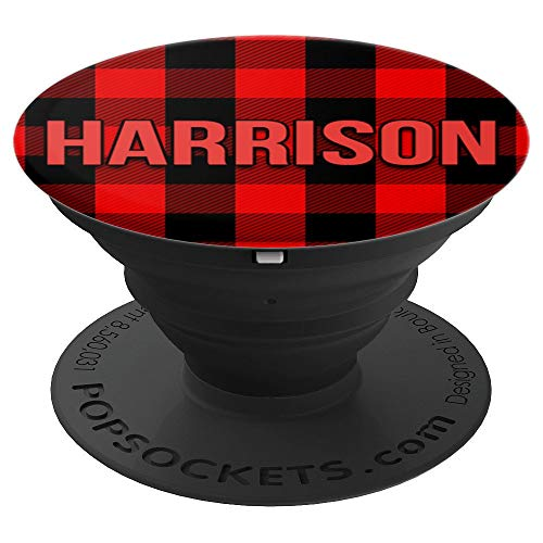 First Name Harrison on Red & Black Flannel Pattern PACH800 - PopSockets Grip and Stand for Phones and Tablets