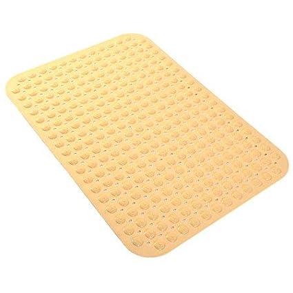 LifeKrafts PVC Anti Slip Bath Mat with Suction Cup, 90x58cm (Cream)