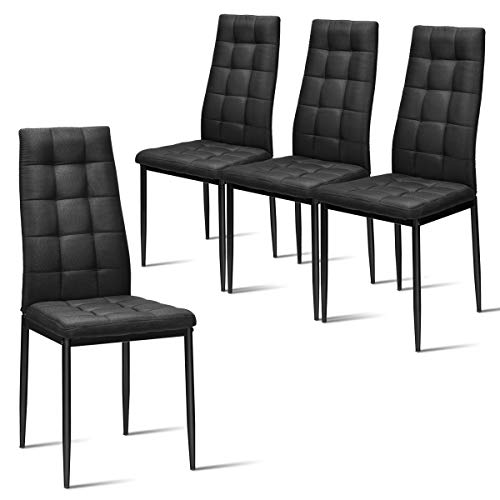 Giantex Set of 4 Fabric Dining Chairs Set, with Upholstered Cushion & High Back, Powder Coated Metal Legs, Checked Pattern Seats, Household Home Kitchen Living Room Bedroom Office Fur (Black)