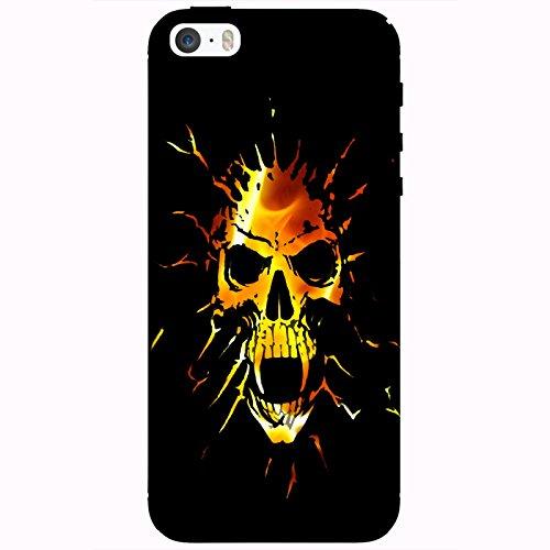 Coque Apple Iphone 5-5s-SE - Tête de mort vampire feu
