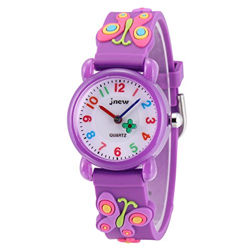 (Jewtme Cute Toddler Children Kids Watches Ages 3-8 Analog Time Teacher 3D Silicone Band Cartoon Watch for Little Girls Boys (Butterfly Purple 2))