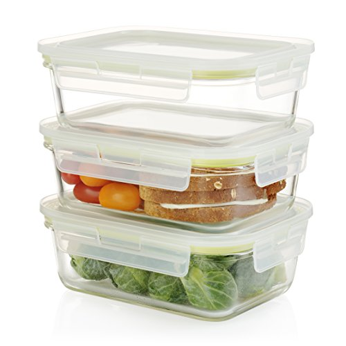 Komax Oven Safe Rectangular Glass Food Storage Containers – Microwave & Freezer Safe - Airtight Lunchbox with Snap Locking Lids - BPA FREE - 3 Piece Set (35 (Industrial Lunch Box)