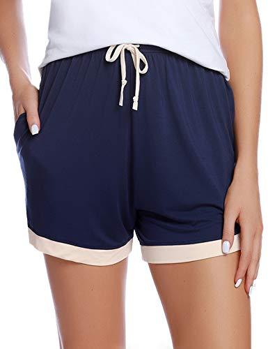 Aibrou Women's Sleep Shorts Cotton Stretchy Boxer Pajama Bottoms (Navy, XX-Large)