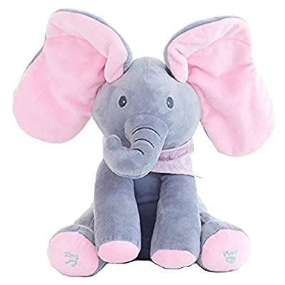 Transasia Baby's Music Elephant Peek-A-Boo Pal Animated Flappy The Elephant Plush Toy Pink
