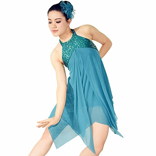 [MiDee Girl's Sleeveless Hang Neck Sequined Irreguar Latin Dress Dance Costume (MC, Turquoise)] (Latin Costumes Dresses)