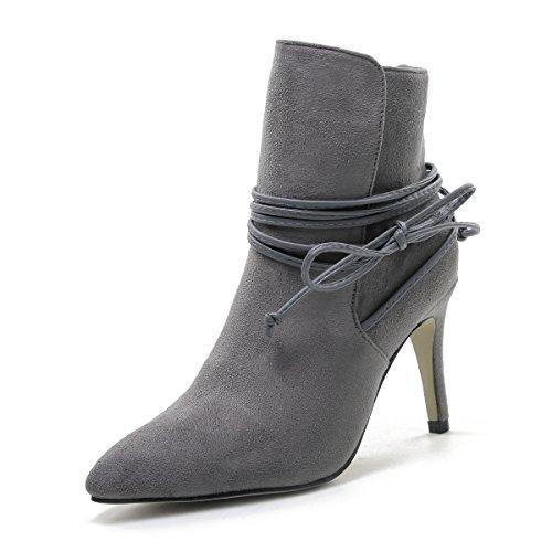 QIN&X Señaló la mujer Tacones Stiletto Toe Botines cortos zapatos con plataforma Grey