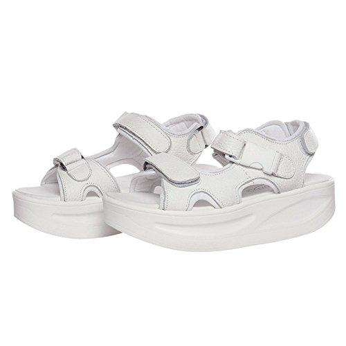 Cheville De Plate Crochet Slingback Femme Coin Talon Sangle Marchant Boucle Rismart Cuir Blanc Et forme Chaussures Sandales qp0xw