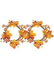 Konstgjord Höst Fall Wreath Halloween Thanksgiving Maple Leaf Pumpkin Door Garland 2st, Simulering Maple Leaf Wreath